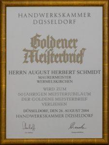 Goldener Meisterbrief August Schmidt