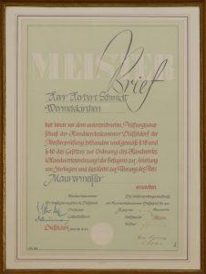 Meisterbrief August Schmidt